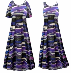 SALE! Customizable Purple Abstract Lines Plus Size & SuperSize Princess Cut Poly/Cotton Jersey Dress 0x 1x 2x 3x 4x 5x 6x 7x 8x 9x