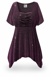 SOLD OUT! SALE! Customizable Purple Glimmer Plus Size & Supersize Babydoll Top 0x to 8x