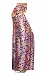 SOLD OUT! SALE! Customizable Purple With Gold Metallic Slinky Print Plus Size & Supersize Palazzo Pants - Leggings - Capri's - Sizes Lg to 9x