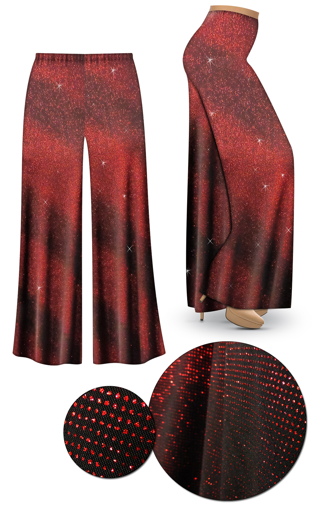 2fed2bdd011 CLEARANCE! Red Glitter Halftone Slinky Print Plus Size   Supersize Palazzo  Pants - Leggings - Capri s - Sizes 5x