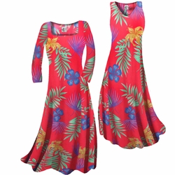 SOLD OUT! SALE! Red With Blue Tropical Flowers Print Slinky Print Plus Size & Supersize Short or Long Sleeve Dresses & Tanks - Sizes Lg to 9x