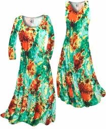 Customizable Red, Yellow, & Green Tie Dye Slinky Print Plus Size & Supersize Short or Long Sleeve Dresses & Tanks - Sizes Lg XL 1x 2x 3x 4x 5x 6x 7x 8x 9x