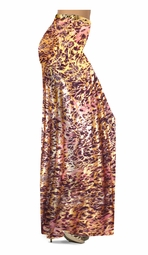 SALE! Customizable Salmon Red Ornate With Gold Metallic Slinky Print Plus Size & Supersize Palazzo Pants -  Tapered Pants - Sizes Lg XL 1x 2x 3x 4x 5x 6x 7x 8x 9x