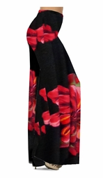 SOLD OUT!! Customizable Scarlet Flower on Solid Black Print Slinky Special Order Customizable Plus Size & Supersize Pants, Capri's, Palazzos or Skirts! Lg to 9x