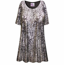 Customizable Silver & Black Sparkly Sequins Slinky Print Plus Size & Supersize Short or Long Sleeve A-Line Shirts - Tunics - Tank Tops - Sizes Lg XL 1x 2x 3x 4x 5x 6x 7x 8x 9x
