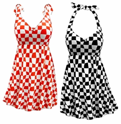 Customizable Wonderland Print Halter or Shoulder Strap 2pc Plus Size Swimsuit/SwimDress 0x 1x 2x 3x 4x 5x 6x 7x 8x 9x