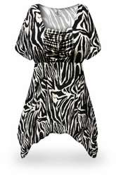 SOLD OUT! NEW! Customizable Zebra Print Plus Size & Supersize Babydoll Top 0x to 8x