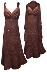SOLD OUT! NEW! Customizable 2-Piece Brown w/ Copper Vertical Lines Glitter Slinky Print - Plus Size & SuperSize Princess Seam Dress Set 0x 1x 2x 3x 4x 5x 6x 7x 8x 9x