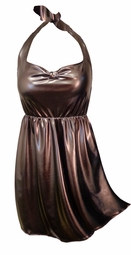 SOLD OUT! 2-Piece Metallic Brown Mocha Plus Size Halter SwimDress Swimwear or Shoulder Strap 2pc Swimsuit 0x1x 2x 3x 4x 5x 6x 7x 8x 9x