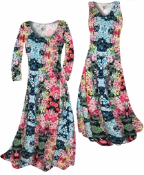 SOLD OUT! Customize Blue Alice's Garden Slinky Print Plus Size & Supersize Standard or Cascading A-Line or Princess Cut Dresses & Shirts, Jackets, Pants, Palazzo's or Skirts Lg to 9x