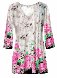 SOLD OUT! Customize Beige Leopard With Pink Roses Plus Size A Line Tunic Tops LG XL 1x 2x 3x 4x 5x 6x 7x 8x 9x