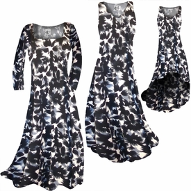 c659492e222 SOLD OUT! SALE! Black   Gray Abstract Floral Slinky Print Plus Size    Supersize Standard or Cascading A-Line or Princess Cut Dresses   Shirts