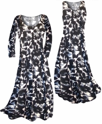 SOLD OUT! SALE! Black & Gray Abstract Floral Slinky Print Plus Size & Supersize Standard or Cascading A-Line or Princess Cut Dresses & Shirts, Jackets, Pants, Palazzo's or Skirts Lg to 9x