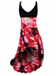 SOLD OUT! SALE! Black & Red Fire Tye Dye Print Slinky Plus Size Hi-Low Empire Waist Dress add Matching Wrap 4x