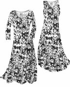 SOLD OUT! CLEARANCE! Black & White Ink Blots Slinky Print Plus Size & Supersize Standard or Cascading A-Line or Princess Cut Dresses 3X