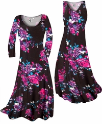 SOLD OUT! Black With Fuchsia Rose Buds Slinky Print Plus Size & Supersize Short or Long Sleeve Dresses & Tanks - Sizes Lg XL 1x 2x 3x 4x 5x 6x 7x 8x 9x