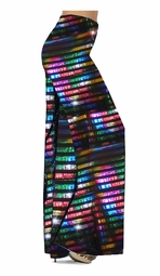 SOLD OUT! Customize Black with Rainbow Rows Metallic Shiny Slinky Print Special Order Plus Size & Supersize Pants, Capri's, Palazzos or Skirts! Lg to 9x