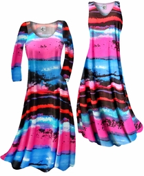 SOLD OUT! Customize Blue, Black and Hot Pink Paint Brushstrokes Slinky Print Plus Size & Supersize Standard or Cascading A-Line or Princess Cut Dresses & Shirts, Jackets, Pants, Palazzo's or Skirts Lg to 9x