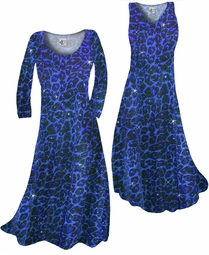 SOLD OUT! Customize Blue Leopard Glittery Slinky Print Plus Size & Supersize Standard or Cascading A-Line or Princess Cut Dresses & Shirts, Jackets, Pants, Palazzo's or Skirts Lg to 9x