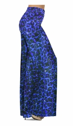 SOLD OUT! Customize Blue Leopard Glittery Slinky Print Special Order Plus Size & Supersize Pants, Capri's, Palazzos or Skirts! Lg to 9x