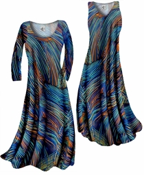 SOLD OUT! Customize Blue Orange & Black Thin Lines Slinky Print  Plus Size & Supersize Standard or Cascading A-Line or Princess Cut Dresses & Shirts, Jackets, Pants, Palazzo's or Skirts Lg to 9x