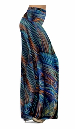 SOLD OUT! Customize Blue Orange & Black Thin Lines Slinky Print  Special Order Customizable Plus Size & Supersize Pants, Capri's, Palazzos or Skirts! Lg to 9x