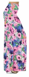 SOLD OUT! Customize Blue & Pink Wildflowers Slinky Print Special Order Plus Size & Supersize Pants, Capri's, Palazzos or Skirts! Lg to 9x