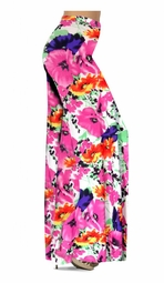 SOLD OUT! SALE! Customizable Bright Pink & Orange Bellflowers Floral Slinky Print Plus Size & Supersize Palazzo Pants - Tapered Pants - Sizes Lg XL 1x 2x 3x 4x 5x 6x 7x 8x 9x