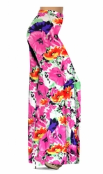 SALE! Customizable Bright Pink & Orange Bellflowers Floral Slinky Print Plus Size & Supersize Palazzo Pants - Tapered Pants - Sizes Lg XL 1x 2x 3x 4x 5x 6x 7x 8x 9x