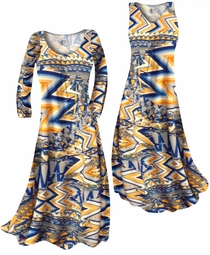 SOLD OUT! Bright Yellow and Blue Triangles Slinky Print  Plus Size & Supersize Standard or Cascading A-Line or Princess Cut Dresses & Shirts, Jackets, Pants, Palazzo's or Skirts Lg to 9x