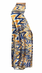 SOLD OUT! Bright Yellow and Blue Triangles Slinky Print Special Order Customizable Plus Size & Supersize Pants, Capri's, Palazzos or Skirts! Lg to 9X