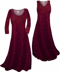 SOLD OUT! Customizable Burgundy With Glittery Gold Dots Slinky Print Plus Size & Supersize Short or Long Sleeve A-Line Dresses & Tanks - Sizes Lg XL 1x 2x 3x 4x 5x 6x 7x 8x 9x