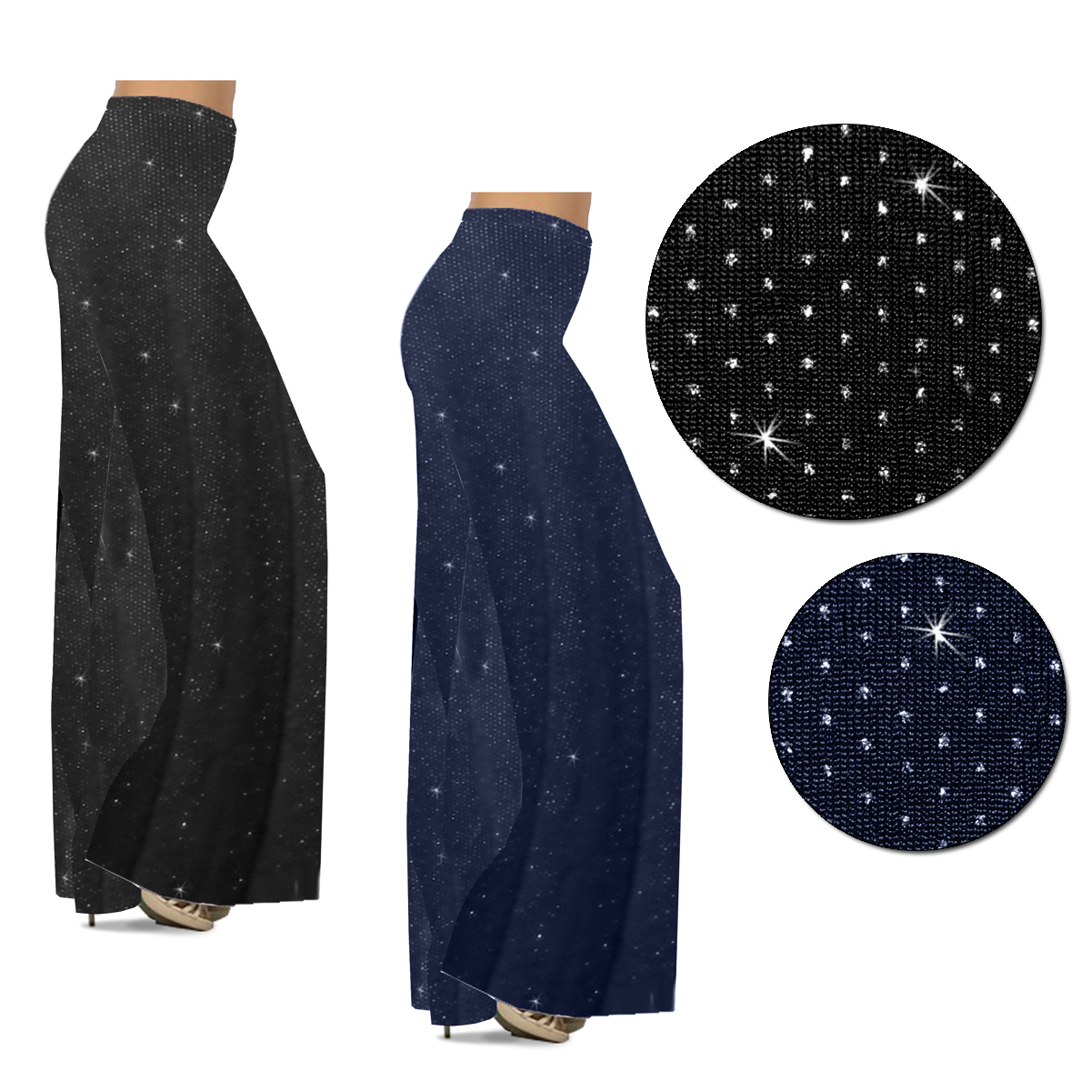 23b280b868e Customizable Plus Size Black or Navy With Glittery Silver Dots Slinky Print  Palazzo Pants - Leggings - Capri s - Sizes Lg XL 1x 2x 3x 4x 5x 6x 7x 8x 9x