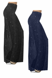 NEW! Customizable Plus Size Black or Navy With Glittery Silver Dots Slinky Print Palazzo Pants - Leggings - Capri's - Sizes Lg XL 1x 2x 3x 4x 5x 6x 7x 8x 9x