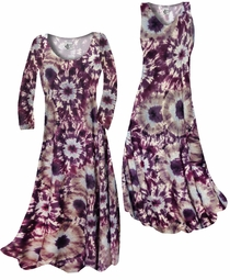 SOLD OUT! NEW! Customize Dark Purple Wine and Sand Tie Dye Slinky Print Plus Size & Supersize Standard or Cascading A-Line or Princess Cut Dresses & Shirts, Jackets, Pants, Palazzo's or Skirts Lg to 9x