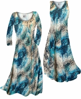 SOLD OUT! Dark Teal Lagoon Lines Slinky Print Plus Size & Supersize Standard or Cascading A-Line or Princess Cut Dresses & Shirts, Jackets, Pants, Palazzo's or Skirts Lg to 9x