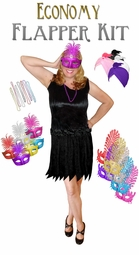SALE! Black Economy Flapper Dress Halloween Costume Kit w/ Mask or Turban - Plus Size & Supersize Lg XL 1x 2x 3x 4x 5x 6x 7x 8x 9x