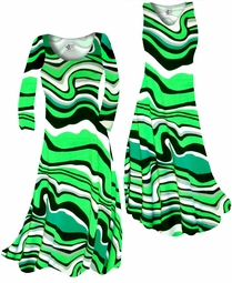 SOLD OUT! Fresh Green Swirls Slinky Print Plus Size & Supersize Standard or Cascading A-Line or Princess Cut Dresses & Shirts, Jackets, Pants, Palazzo's or Skirts Lg to 9x