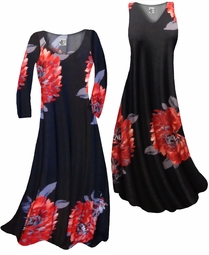 SOLD OUT! Customize Giant Red Flower Slinky Print Plus Size & Supersize Standard or Cascading A-Line or Princess Cut Dresses & Shirts, Jackets, Pants, Palazzo's or Skirts Lg to 9x