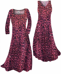 SOLD OUT! Customizable Red With Hot Pink Glittery Leopard Slinky Print Plus Size & Supersize Short or Long Sleeve A-Line Dresses & Tanks - Sizes Lg XL 1x 2x 3x 4x 5x 6x 7x 8x 9x