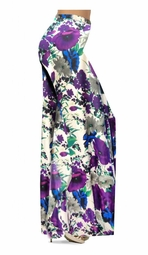 SOLD OUT! NEW! Customize Indigo Blue & Purple Bellflowers Floral Slinky Print Special Order Plus Size & Supersize Pants, Capri's, Palazzos or Skirts! Lg to 9x