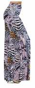 CLEARANCE! Lilac & Brown Multi Animal Skin Slinky Print Plus Size & Supersize Skirts 1x