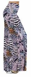 SOLD OUT! CLEARANCE! Lilac & Brown Multi Animal Skin Slinky Print Plus Size & Supersize Skirts 1x
