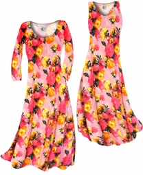 SOLD OUT! Lovely Pink Spring Flowers Slinky Print Plus Size A-Line Dresses