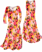 CLEARANCE! Lovely Pink Spring Flowers Slinky Print Plus Size A-Line Dresses 1x