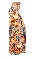 SOLD OUT! Customize Orange & Blue Multi Animal Skin Slinky Print Special Order Plus Size & Supersize Pants, Capri's, Palazzos or Skirts! Lg to 9x