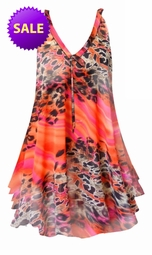 SOLD OUT! SALE! Sheer Orange & Pink Leopard Print Semi Sheer A-Line Overshirt Supersize & Plus Size Top With Black Liner 4x