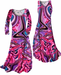 SOLD OUT! Customize! Pink & Purple Bright Waves Slinky Print Plus Size & Supersize Standard or Cascading A-Line or Princess Cut Dresses & Shirts, Jackets, Pants, Palazzo's or Skirts Lg to 9x