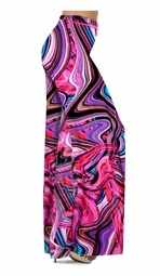 SOLD OUT! SALE! Pink & Purple Bright Waves Slinky Print Plus Size & Supersize Pants, Capri's, Palazzos or Skirts!