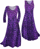 SOLD OUT! Purple Leopard Glittery Slinky Print Plus Size & Supersize Standard or Cascading A-Line or Princess Cut Dresses & Shirts, Jackets, Pants, Palazzo's or Skirts Lg to 9x
